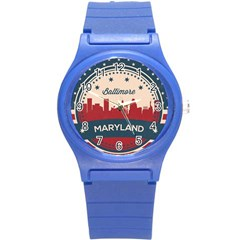 Retro Baltimore Maryland Skyline Round Plastic Sport Watch (s) by allthingseveryday