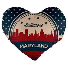 Retro Baltimore Maryland Skyline Large 19  Premium Heart Shape Cushions by allthingseveryday