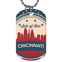 Retro Cincinnati Ohio Skyline Dog Tag (two Sides) by allthingseveryday