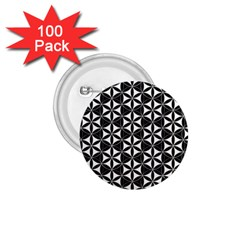 Flower Of Life Pattern Black White 1 75  Buttons (100 Pack)  by Cveti