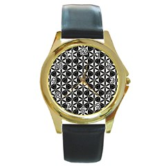 Flower Of Life Pattern Black White Round Gold Metal Watch by Cveti
