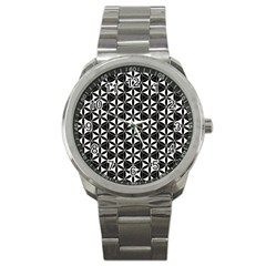 Flower Of Life Pattern Black White Sport Metal Watch by Cveti