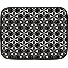 Flower Of Life Pattern Black White Fleece Blanket (mini) by Cveti