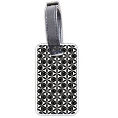 Flower Of Life Pattern Black White Luggage Tags (one Side)  by Cveti