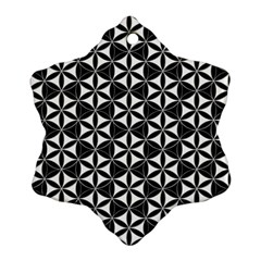 Flower Of Life Pattern Black White Snowflake Ornament (two Sides) by Cveti