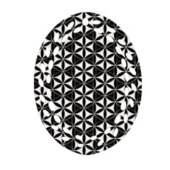 Flower Of Life Pattern Black White Ornament (oval Filigree) by Cveti