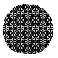 Flower Of Life Pattern Black White Large 18  Premium Flano Round Cushions by Cveti