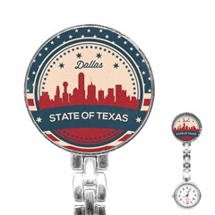 Retro Dallas Texas Skyline Stainless Steel Nurses Watch by allthingseveryday