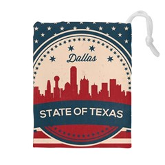Retro Dallas Texas Skyline Drawstring Pouches (extra Large) by allthingseveryday
