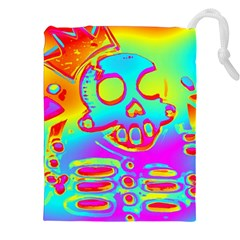 Rainbow Skeleton King Drawstring Pouches (xxl) by Roxzanoart