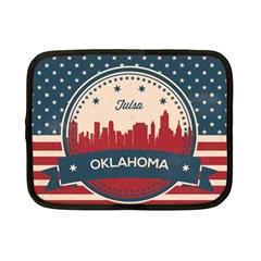 Tulsa Oklahoma Retro Skyline Netbook Case (small)  by allthingseveryday