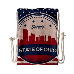 Retro Toledo Skyline Drawstring Bag (small) by allthingseveryday