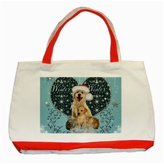 It s Winter And Christmas Time, Cute Kitten And Dogs Classic Tote Bag (red) by FantasyWorld7