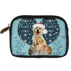 It s Winter And Christmas Time, Cute Kitten And Dogs Digital Camera Cases by FantasyWorld7