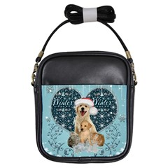It s Winter And Christmas Time, Cute Kitten And Dogs Girls Sling Bags by FantasyWorld7
