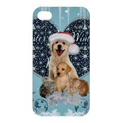 It s Winter And Christmas Time, Cute Kitten And Dogs Apple Iphone 4/4s Premium Hardshell Case by FantasyWorld7