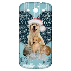 It s Winter And Christmas Time, Cute Kitten And Dogs Samsung Galaxy S3 S Iii Classic Hardshell Back Case by FantasyWorld7