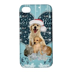 It s Winter And Christmas Time, Cute Kitten And Dogs Apple Iphone 4/4s Hardshell Case With Stand by FantasyWorld7