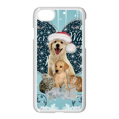 It s Winter And Christmas Time, Cute Kitten And Dogs Apple Iphone 8 Seamless Case (white)