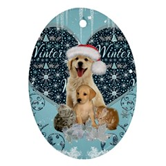 It s Winter And Christmas Time, Cute Kitten And Dogs Ornament (oval) by FantasyWorld7