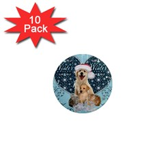 It s Winter And Christmas Time, Cute Kitten And Dogs 1  Mini Magnet (10 Pack)  by FantasyWorld7