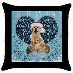 It s Winter And Christmas Time, Cute Kitten And Dogs Throw Pillow Case (black) by FantasyWorld7