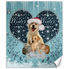 It s Winter And Christmas Time, Cute Kitten And Dogs Canvas 20  X 24   by FantasyWorld7