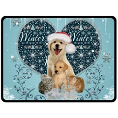 It s Winter And Christmas Time, Cute Kitten And Dogs Fleece Blanket (large)  by FantasyWorld7