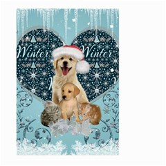 It s Winter And Christmas Time, Cute Kitten And Dogs Large Garden Flag (two Sides) by FantasyWorld7