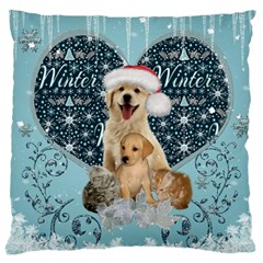 It s Winter And Christmas Time, Cute Kitten And Dogs Large Cushion Case (one Side) by FantasyWorld7