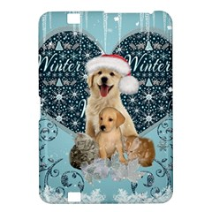 It s Winter And Christmas Time, Cute Kitten And Dogs Kindle Fire Hd 8 9  by FantasyWorld7