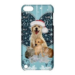 It s Winter And Christmas Time, Cute Kitten And Dogs Apple Ipod Touch 5 Hardshell Case With Stand by FantasyWorld7