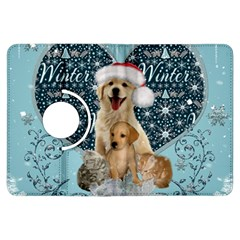 It s Winter And Christmas Time, Cute Kitten And Dogs Kindle Fire Hdx Flip 360 Case by FantasyWorld7