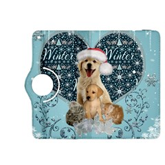 It s Winter And Christmas Time, Cute Kitten And Dogs Kindle Fire Hdx 8 9  Flip 360 Case by FantasyWorld7