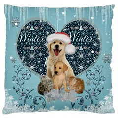 It s Winter And Christmas Time, Cute Kitten And Dogs Standard Flano Cushion Case (one Side) by FantasyWorld7