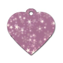 Blurry Stars Lilac Dog Tag Heart (one Side) by MoreColorsinLife