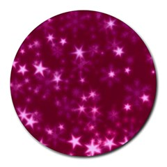 Blurry Stars Pink Round Mousepads by MoreColorsinLife