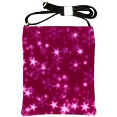 Blurry Stars Pink Shoulder Sling Bags by MoreColorsinLife