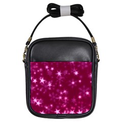 Blurry Stars Pink Girls Sling Bags by MoreColorsinLife