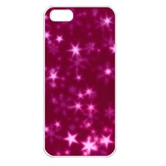 Blurry Stars Pink Apple Iphone 5 Seamless Case (white) by MoreColorsinLife