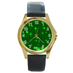 Blurry Stars Green Round Gold Metal Watch by MoreColorsinLife
