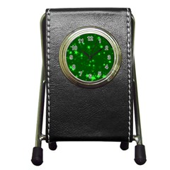 Blurry Stars Green Pen Holder Desk Clocks by MoreColorsinLife