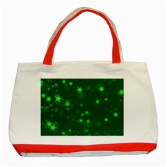 Blurry Stars Green Classic Tote Bag (red) by MoreColorsinLife