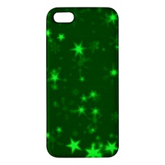 Blurry Stars Green Apple Iphone 5 Premium Hardshell Case by MoreColorsinLife