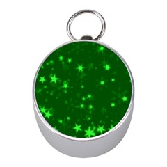 Blurry Stars Green Mini Silver Compasses by MoreColorsinLife