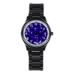 Blurry Stars Blue Stainless Steel Round Watch by MoreColorsinLife