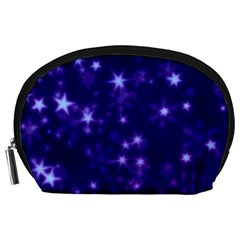 Blurry Stars Blue Accessory Pouches (large)  by MoreColorsinLife
