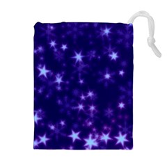 Blurry Stars Blue Drawstring Pouches (extra Large) by MoreColorsinLife