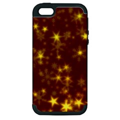 Blurry Stars Golden Apple Iphone 5 Hardshell Case (pc+silicone) by MoreColorsinLife