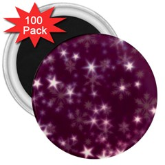 Blurry Stars Plum 3  Magnets (100 Pack) by MoreColorsinLife